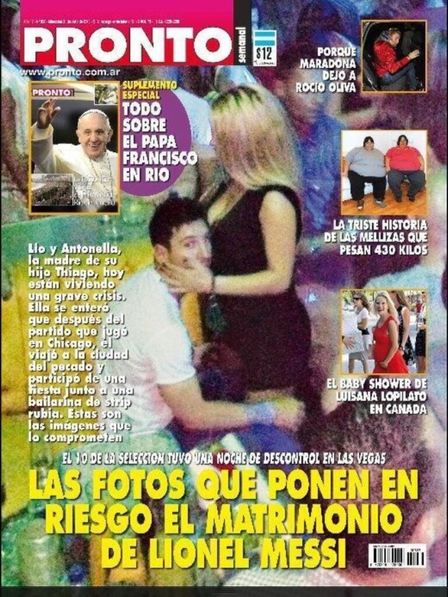 Lionel Messi in Las Vegas with stripper on Pronto magazine cover