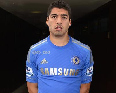 Luis Suárez in a Chelsea shirt, one of the best Suárez to Chelsea & Suárez to Arsenal jokes