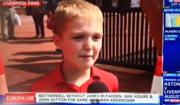 """A young Liverpool fan on Sky Sports News comments on Suárez  transfer: """"sell him, he's a vampire"""""""