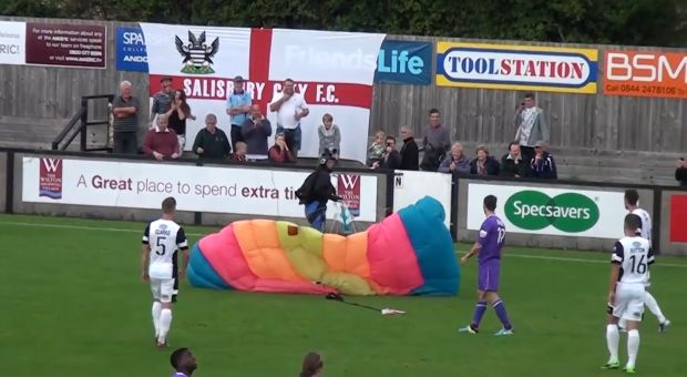Salisbury parachute landing during match against Chester in the Conference Premier
