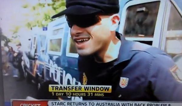 A security guard in one of the best Sky Sports News transfer deadline day videos