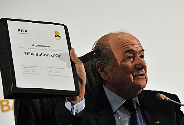 Sepp Blatter at the signing of the agreement creating the FIFA Ballon d'Or in Johannesburg - watch the 2013 FIFA Ballon d'Or ceremony live today
