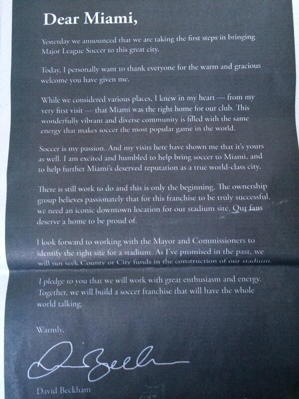 David Beckham's advert in the Miami Herald