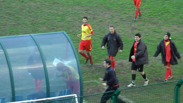 Italian player headbutts dugout for his goal celebration in an amateur match