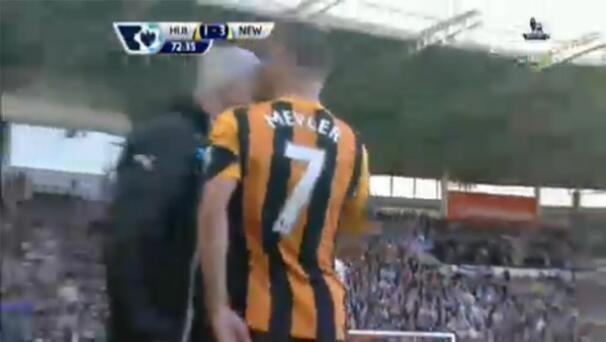 The Newcastle manager attacks Hull City's David Meyler, leading to Alan Pardew headbutt jokes