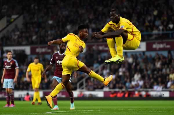 The #BalotelliSitsOnThings started from this image of Mario Balotelli jumping out the way of Raheem Sterling's shot against West Ham