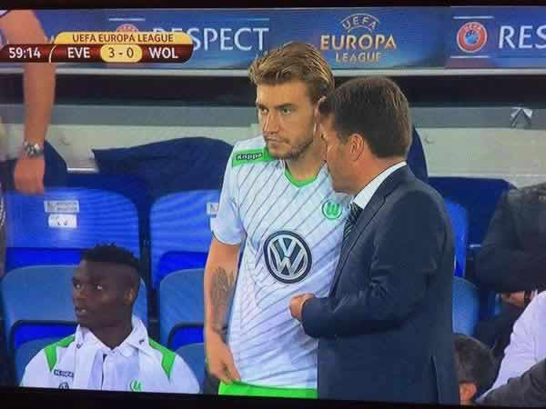 Nicklas Bendtner jokes were cracked as the great man came on for Wolfsburg against Everton in the Europa League Group H clash