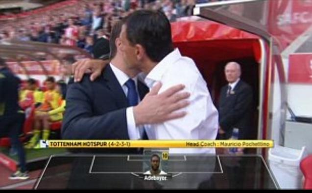 Gus Poyet kisses Mauricio Pochettino before the Premier League clash between Sunderland and Spurs at the Stadium of Light