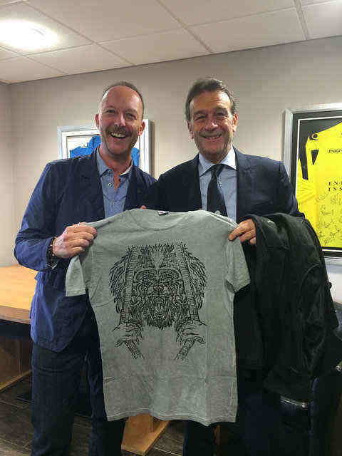 Massimo Cellino cooks pasta and poses with psychedelic T-shirts