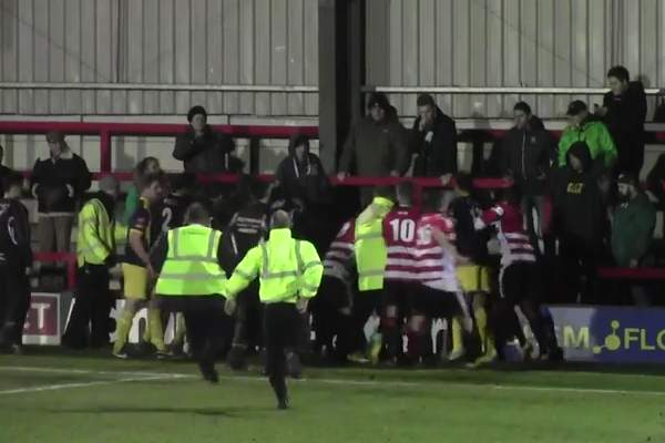 Kingstonian goalkeeper jumps into crowd and attacks fan after end of match against Bognor Regis Town