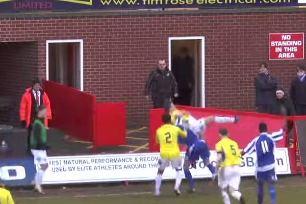 Conference North player throws tackler to the floor during Worcester City 2-0 Stockport County