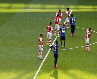 Arsenal jokes are about the team in red - that's Monaco in the blue