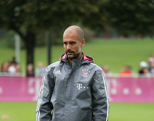 Pep Guardiola in training