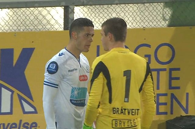 Haris Hajradinovic sent off for fighting his team-mate after conceding penalty during Strømsgodset 2-0 Haugesund