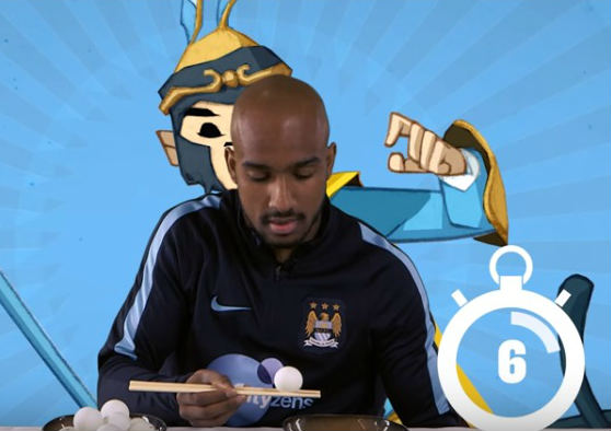 His victorious chopsticks challenge outing is amongst our ten funny Fabian Delph challenge