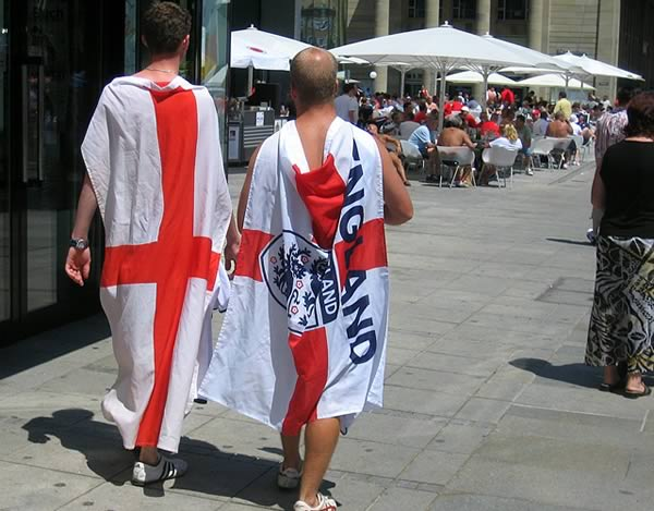 Funny England fans follow the national side around the world