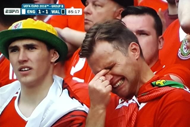 There were crying Welsh fan jokes from England vs Wales at Euro 2016 after the tearful Welshman was spotted in the stands by the cameraman
