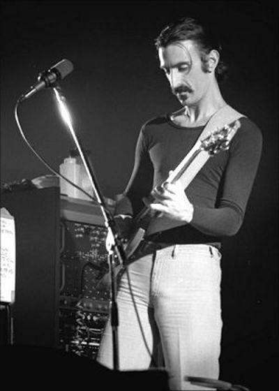 Zlatan lookalike Frank Zappa playing guitar on stage