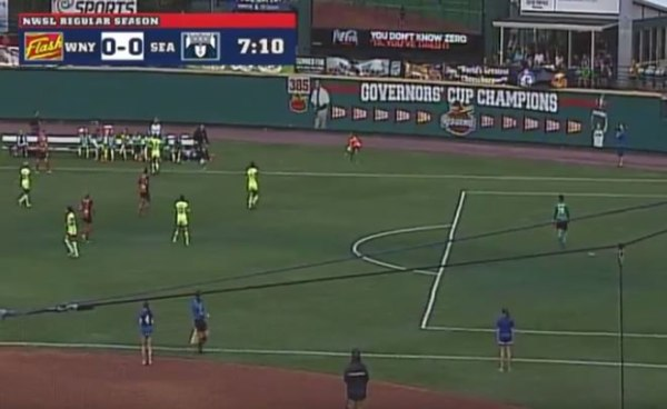 Western New York Flash vs Seattle Reign at Frontier Field, a match played on a very narrow pitch