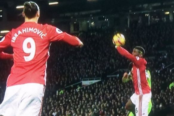 The handball that caused many of the Paul Pogba jokes after he gave away a penalty against Liverpool following his Twitter emoji launch