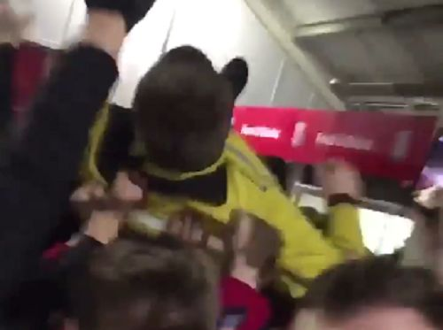 Steward crowd surfing on Wolves fans at Stoke for FA Cup clash