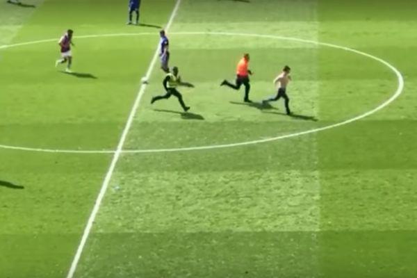 Pitch invader at Aston Villa 1-0 Birmingham City