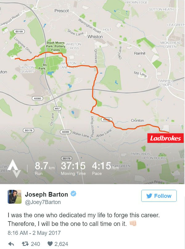 Joey Barton ran to the bookies to bet on his comeback