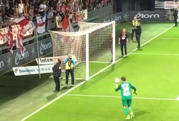 Nancy goalkeeper Geoffrey Jourdren kicks ball at Brest fans following his side's 2-1 defeat