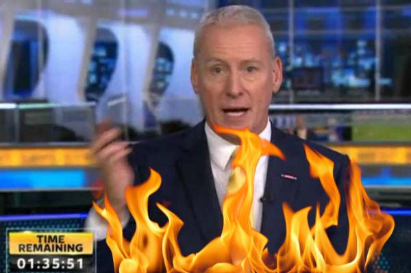 Sky Sports News presenter Jim White spontaneously combusting