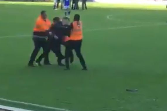 Pitch invader at Birmingham 0-0 Aston Villa
