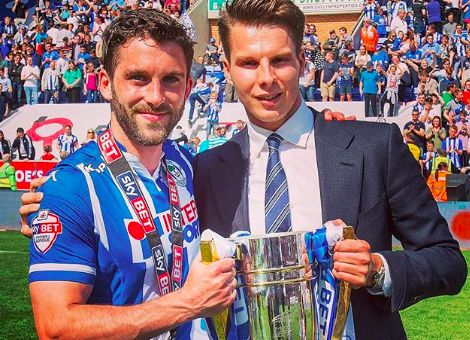Will Grigg and David Sharpe celebrating as they will be after Wigan's 1-0 FA Cup win over Man City and when seeing the jokes