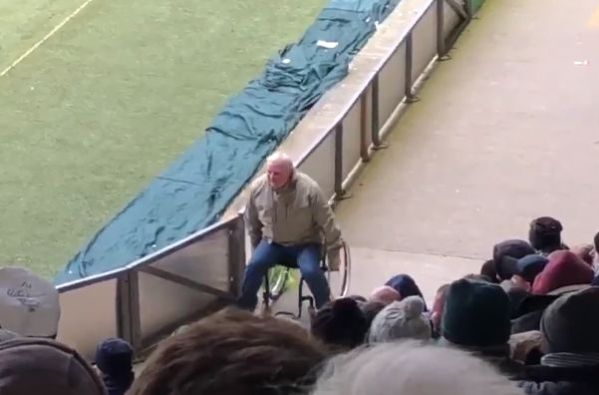 Plymouth fan gets out of wheelchair