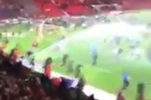 Doncaster turn on sprinklers while Blackburn fans invade pitch