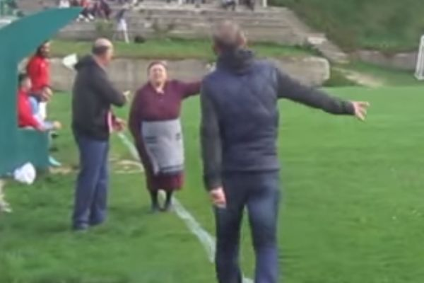 A granny stops an amateur game in Greece to complain about the noise