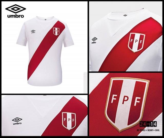 Peru 2014 2015 Umbro Home and Away Soccer Jersey, Camiseta, Football Kit, Equipacion, Piel