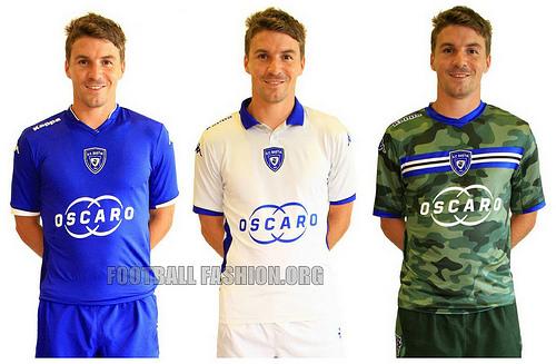 SC Bastia 2014 2015 Kappa Home, Away and Third Football Kit, Soccer Jersey, Maillot
