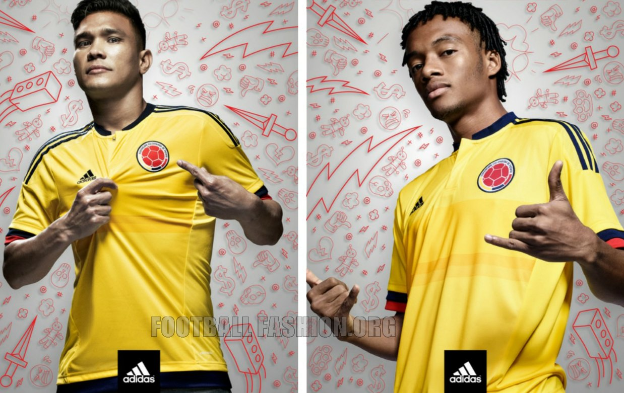 9a361278c Colombia Yellow 2015 2016 Copa America and World Cup adidas Home Soccer  Jersey