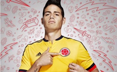 Colombia Yellow 2015 2016 Copa America and World Cup adidas Home Soccer Jersey, Shirt, Football Kit, Camiseta de Futbol Amarilla