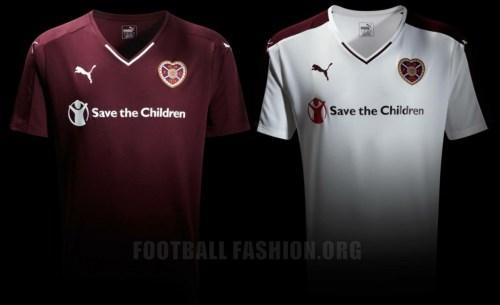 Heart of Midlothian FC 2015 2016 PUMA Home and Away Soccer Jersey, Football Kit, Shirt