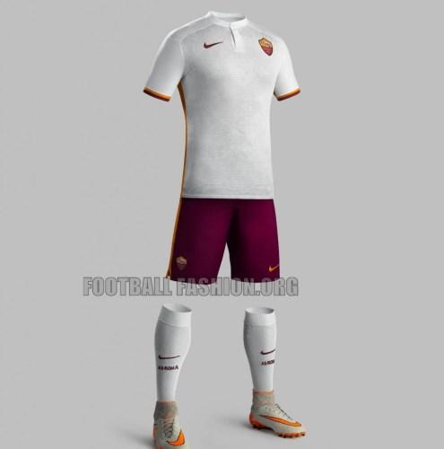 AS Roma 2015 2016 Nike White Away Football Kiit, Soccer Jersey, Shirt, Maglia, Gara, Camiseta