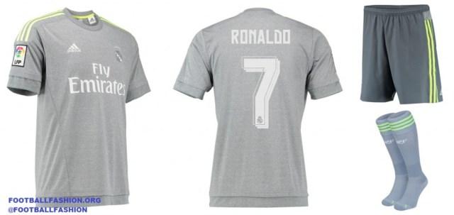 Real Madrid 2015 2016 adidas White Home and Gray Away Football Kit, Soccer Jersey, Shirt, Camiseta de Futbol, Nueva Equipacion