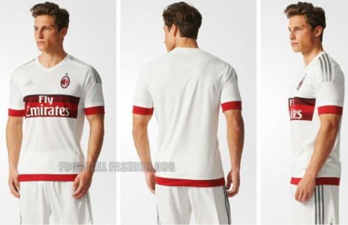AC Milan 2015 2016 adidas White Away Football Kit, Soccer Jersey, Shirt, Gara, Maglia