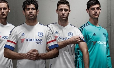 Chelsea Football Club White 2015 2016 adidas Away Kit, Soccer Jersey, Shirt, Camiseta, Maillot