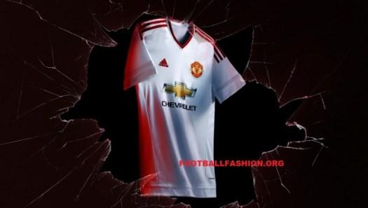 Manchester United FC White 2015 2016 adidas Away Football Kit, Soccer Jersey, Shirt, Maillot, Camiseta, Gara, Equipacion, Trikot, Tenue