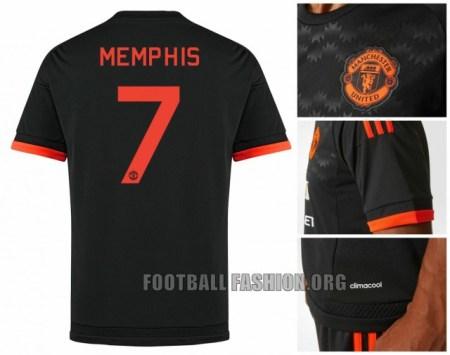 Manchester United 2015 2016 Black adidas Third Football Kit, Shirt, Soccer Jersey, Camiseta, Maillot, Trikot