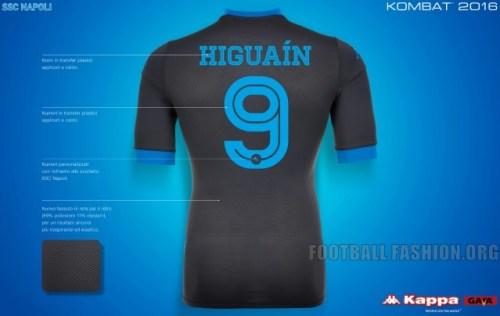 SSC Napoli 2015 2016 Kappa Away Football Kit, Soccer Jersey, Shirt, Gara, Maglia, Camiseta
