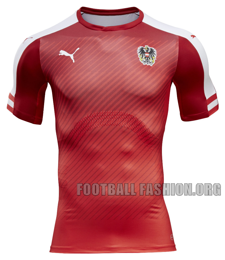 ... the Austria EURO 2016 PUMA home kit has a striking look. Further detail  comes with the white Form Stripes located along the sleeves 8db7ec224