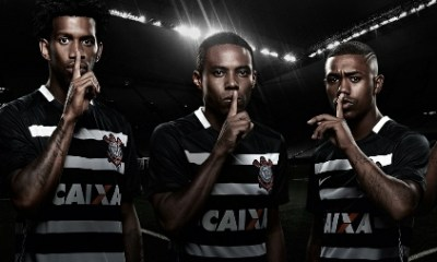 Corinthians 2015 2016 Nike Black Away Football Kit, Soccer Jersey, Shirt, Camisa, Camiseta