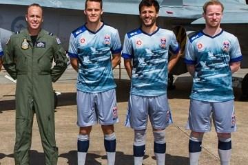 Newcastle Jets Unveil 2015/16 Royal Australian Air Force Football Kit, Soccer Jersey, Shirt