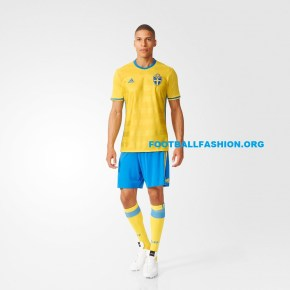 Sweden EURO 2016 adidas Home Football Kit, Shirt, Soccer Jersey, Landslagströjan, Tröjan